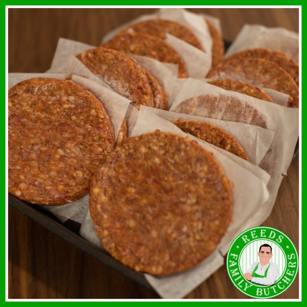 Buy a £10 tray of Minted Lamb Burgers online from Reeds Family Butchers