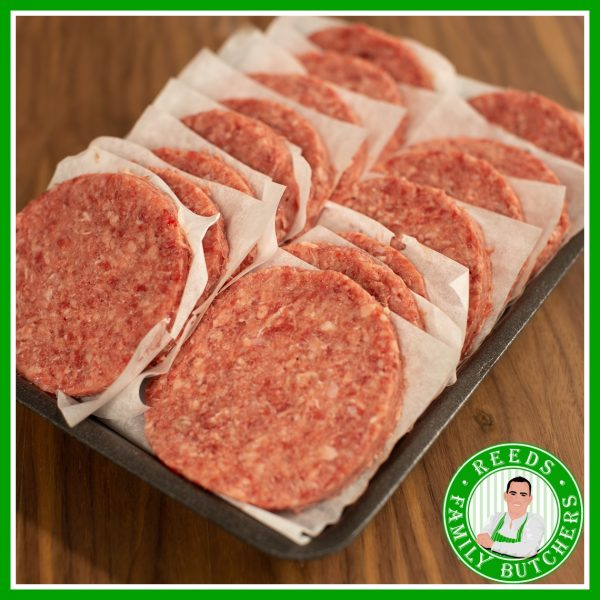 Buy a £10 tray of Butchers Burgers online from Reeds Family Butchers
