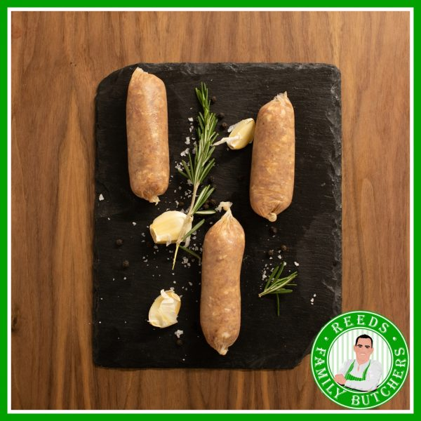 Buy Pork, Jerk & Banana Sausages - 8 Pack online from Reeds Family Butchers